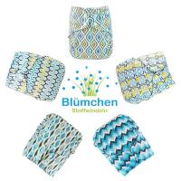 Blümchen diaper cover OneSize PUL Snaps Geometric Designs