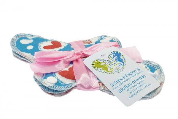 Blümchen waterproof panty liner Organic Cotton Jersey 3pcs. only dots print